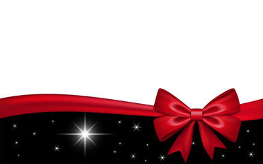 Gift card with red ribbon bow, isolated on white background. Decoration stars design for Christmas holiday celebration, greeting, Valentine Day present, birthday invitation. Vector illustration