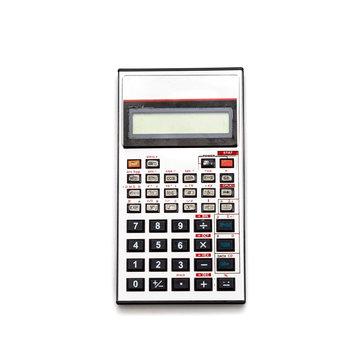 Old aluminum calculator. Isolate.