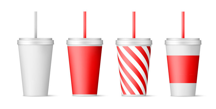 Set of paper cups for soda with straw. vector illustration isolated on white background