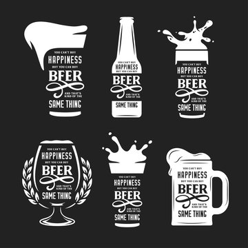Beer related typography quote set. Vector vintage illustration.