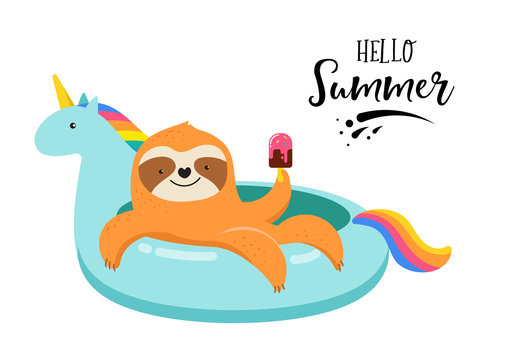 Summer fun illustration with cute sloth on unicorn swimming pool float. Concept vector illustrations, background
