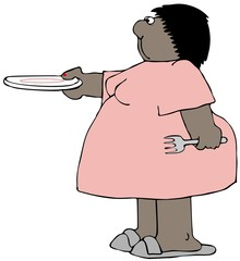 Chubby woman holding out an empty plate