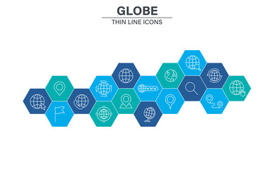 Wall Mural - Set of Globe and earth planet web icons in line style. Navigational Equipment, Planet Earth, Airplane, Map. Vector illustration.