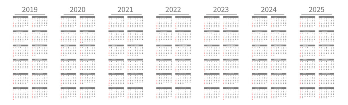 Mockup Simple calendar Layout for 2019 to 2025 years. Week starts from Sunday