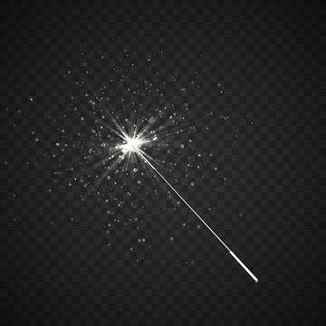 Magic wand isolated on black transparent background. Vector illustration