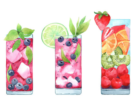 Hand drawn illustration of watercolor cocktails set. Painted isolated drink and food menu illustrations