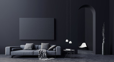 Modern Concept interior design of black and grey living room, 3d Render 3d illustration