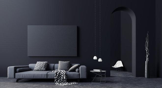 Modern Concept interior design of black and grey living room, 3d Render 3d illustration