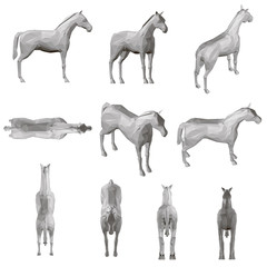 Set with a polygonal horse in different positions. 3D. Vector illustration