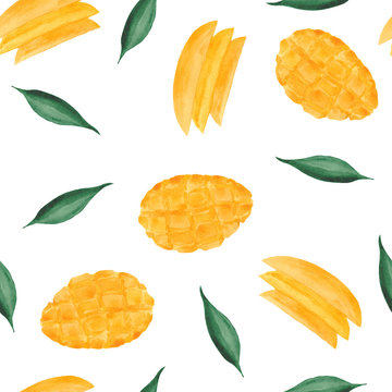 watercolor pattern with mango, mango slices and leaves on a white background