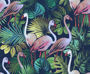 Seamless pattern with tropical leaves and pink flamingos. Tropical  background.