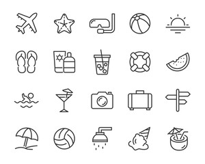 set of summer icons, such as vacation, trip, ice cream, sun, travel