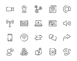 set of web icons, such as address, contact, social media, add friend, e-mail, app