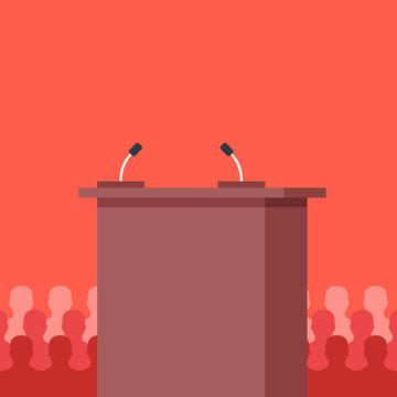 Rostrum, tribune. Conference, meeting, podium and audience concepts. Flat design. Vector illustration