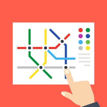 Subway map and pointing hand. Underground, metro map concepts. Flat design. Vector illustration