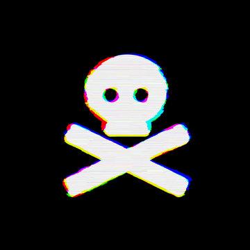 Symbol skull crossbones has defects. Glitch and stripes