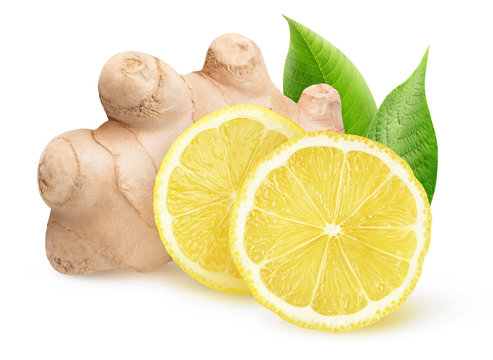 Isolated ginger and lemon pieces. Natural medicine, antiflu ingredients isolated on white background with clipping path