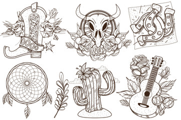 Wild west and nature. A set of outline illustrations with sketches of tattoos.