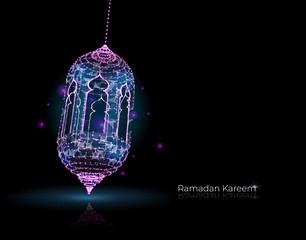 Ramadan kareem arabic greeting card. luminous lanterns. Traditional arabic poster card object. Islamic Festival concept. Polygonal wireframe light - Vector
