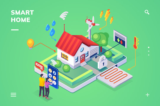 Isometric view on smart home controlled by smartphone. House with iot or internet of things technology. Building with remote water, wifi, light, heat, lock, garage control.Phone application,technology