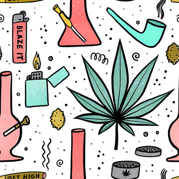Seamless cartoon pattern with a set of accessories for smoking marijuana.