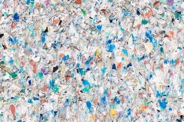 Platte aus verschmolzenen Kunststoff-Abfällen, Detail