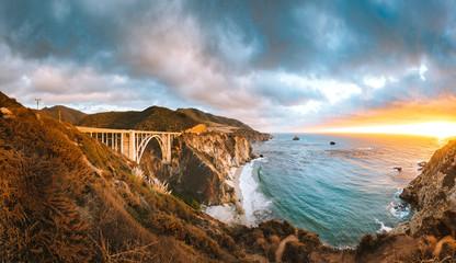 Bixby Bridge along Highway 1 at sunset, Big Sur, California, USA Wall mural