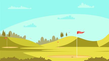 Garden Poster Light blue Golf court vector illustration