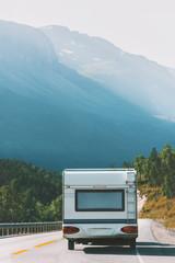 Travel RV trailer camper road trip vacations in Norway summer family journey van life weekend caravan camping