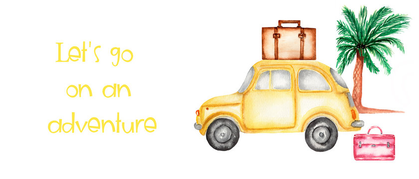 Hand drawing watercolor set for travel - suitcases,car and palm tree. illustration isolated on white. Travel card with space for your text.