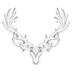 The Vector logo deer for T-shirt print  design or outwear.  Hunting style deer background.