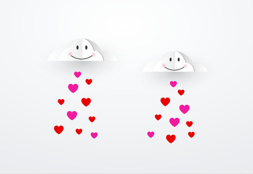 hearts falling from happy clouds cloud. Valentines day and love.