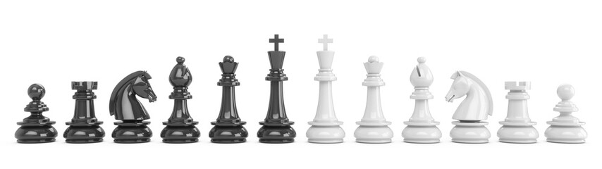 3D Rendering all chess pieces isolated on white background