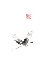 Flying crane Japanese style original sumi-e ink painting.