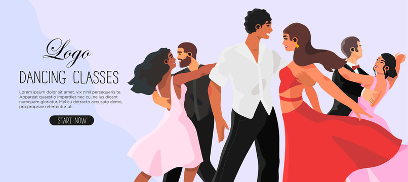 Vector illustration of a dancing studio rehearsal. Young men and women attending dancing classes. Creative banner, flyer or landing page for a dance studio or ballroom dance classes.