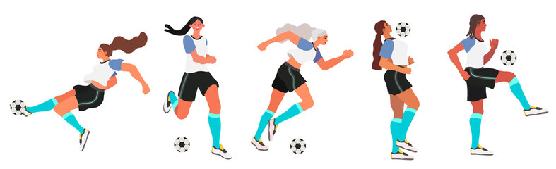 Woman soccer or football player. Flat vector illustration of girl team playing soccer or football isolated on a white background.