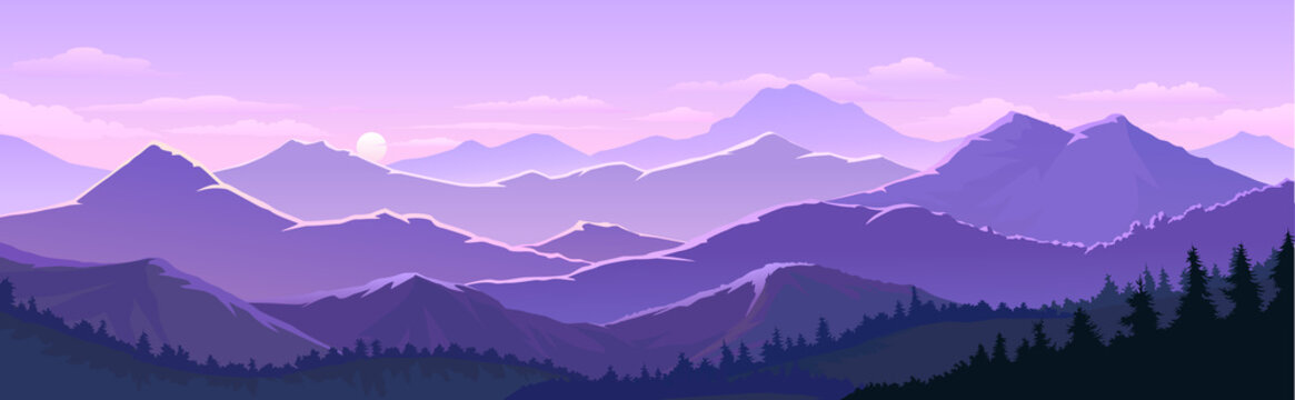Violet skies and the vast mountain lands with trees, forests.