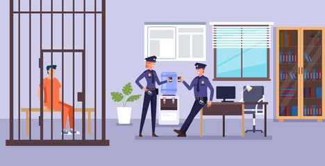 Police man character drinking coffee and talk. Police department low system concept. Vector design flat graphic cartoon illustration