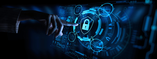 Data protection Cyber Security Privacy Business with Woman hand pointing with UI.Internet Technology Concept. Wall mural