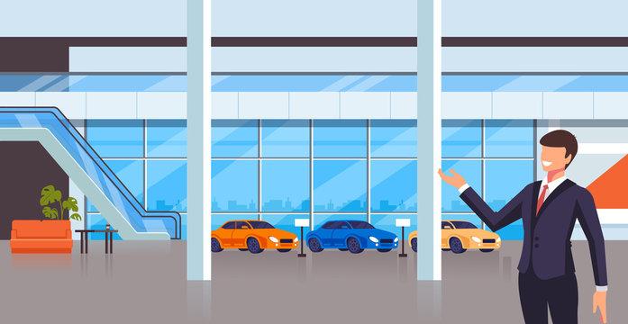 Sale seller man character present new cars. Transport shop store concept. Vector design flat graphic cartoon illustration