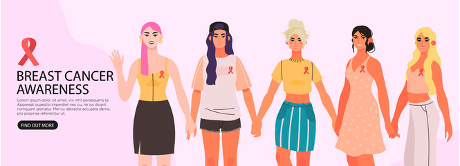 Vector banner, flyer, landing page or blog post illustration with diverse beautiful women holding hands and supporting each other and informing other people. Breast cancer awareness month.