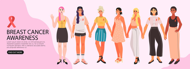 Vector illustration of diverse women holding hands and supporting each other. Breast cancer awareness banner, flyer, landing page or blog post.