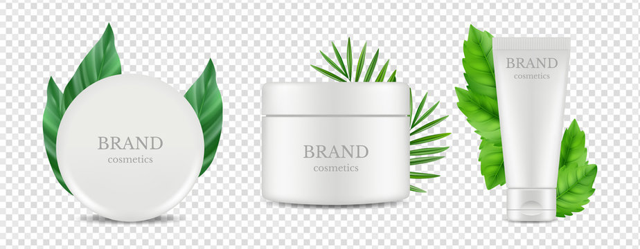 Vector organic cosmetics tube and tube boxes with green leaves vector isolated on transparent background. Illustration of beauty cream moisturizer, package product box, container cosmetic