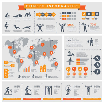 Fitness infographic. Sport lifestyle healthy people making exercises in gym or outdoor vector infographic template. Illustration of fitness and sport exercise, health activity infographic