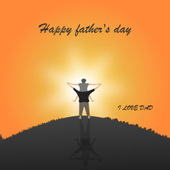Happy father day with Silhouette at sunset son is riding his father's neck at Mountain peaks in evening time vector and illustration design.