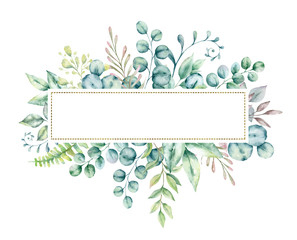 Watercolor hand painted frame with tropical green leaves and flowers. Frame for wedding invitations, save the date or greeting cards..