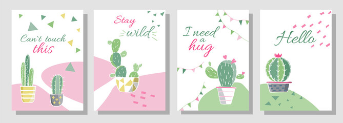 Cards template with pictures of cactuses with outlines. Vector cactus with flower in colored illustration. Vector botanical illustration in watercolor style. Templates of cards, flyers and posters