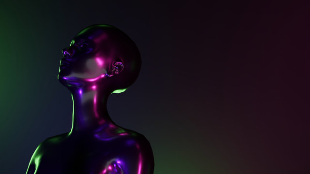 Futuristic concept of female character with neon lights. 3d Illustration