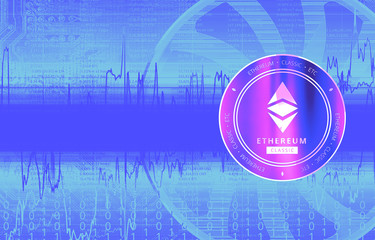 Ethereum Classic (ETC) digital crypto currency. Сoin on the background of stock indexes. Cyber money.