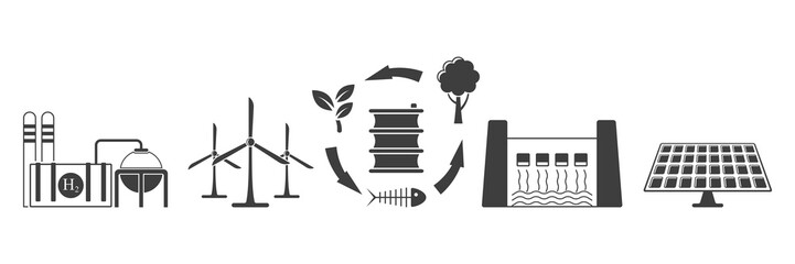 Set of environmentally friendly energy extraction icons. Vector on white background.